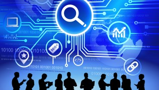 Technology And SEO Themed Background With Business People As A B